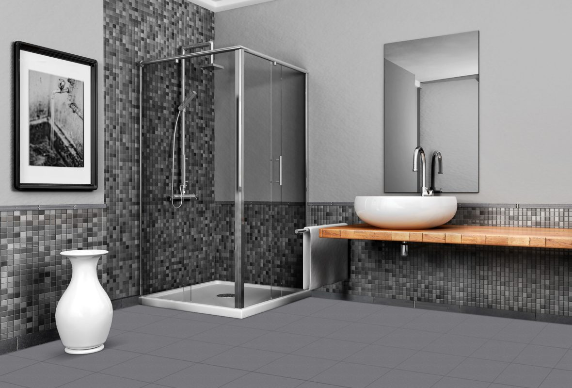Bathroom with stone and mosaic grey tone